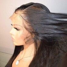 360 koronki Frontal peruka proste włosy ludzkie peruki dla kobiet czarny Invisible Knot peruka bielone węzłów wstępnie oskubane Remy Roselover włosów