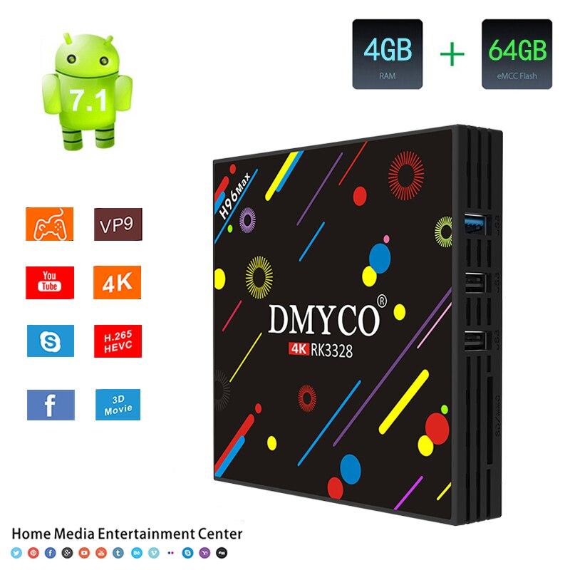 Android 7.1 Bluetooth 4.0 TV Box RK3328 Octa Core CPU Set Top Box Dual Band WiFi 100M HDMI 4G+64G Portugal h96 pro Smart TV Box