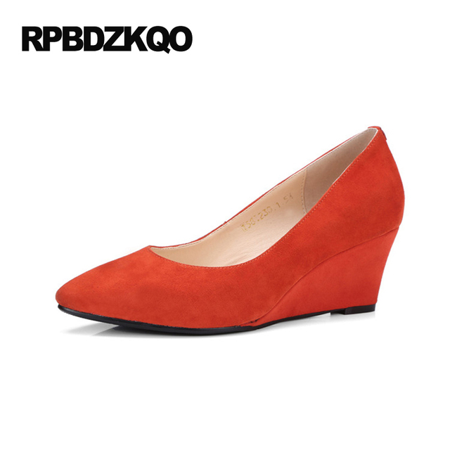 Office Small Size Suede Orange Pumps Shoes 33 High Heels Las Ivory 4 34 2017