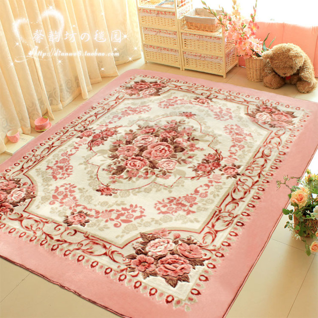 WINLIFE Romantic Pink Rose Rug for Living Room Elegant American Country Style Carpet Bedroom Branded Rug