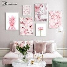 Póster de pared de flores de loto Rosa piña Rosa estampado Floral botánico nórdico lienzo escandinavo pintura de arte contemporáneo
