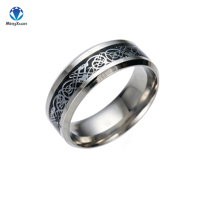 Vintage Gold Free Shipping Dragon 316L stainless steel Ring Mens Jewelry for Men lord Wedding Band 2