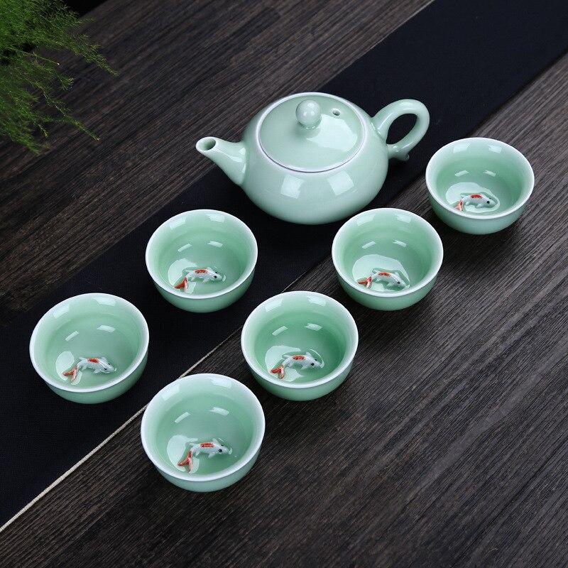 Высококачественный фарфоровый чайный сервиз из селадона, ручная роспись, чашка для рыбы, керамика, кунг фу, чайник для черного/Пуэр/Улун/дах