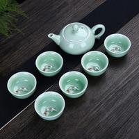 High grade Hand painted Celadon Tea Set Porcelain fish Cup Ceramics Kungfu Teapot for Black/puer/pu'erh/oolong/dahong/white tea