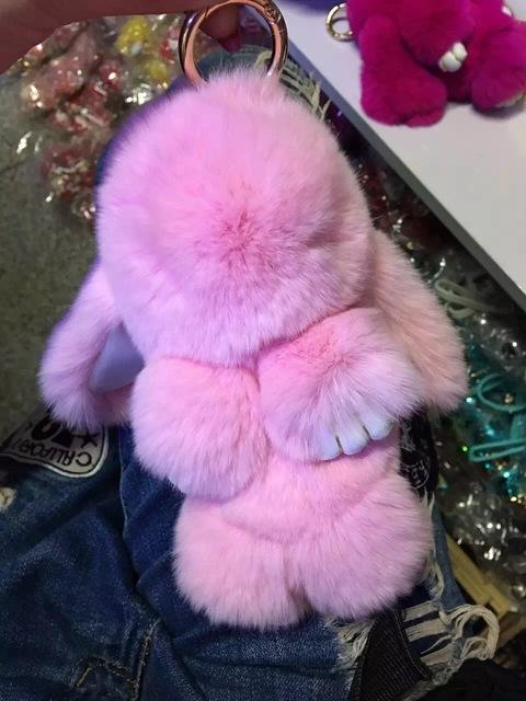 Rosa Conejito Lindo Bolso de Mano del Encanto accesorios kawaii Conejo muñecas bolsa llaveros encanto Fuzzy Bocanadas de Piel Real Genuino Clave anillo