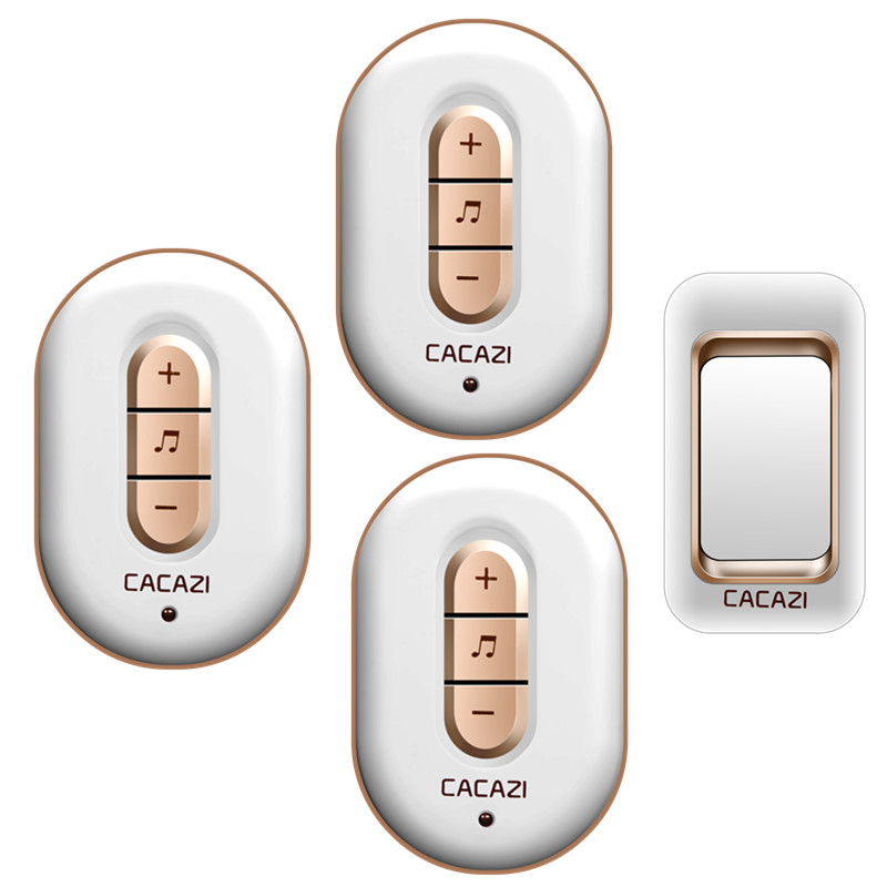 CACAZI AC 110-220V waterproof 300M remote wireless doorbell 1 transmitter+3 receivers with 48 melodies 6 volume door chime cacazi a9 3 ac 75 250v wireless doorbell 1 waterproof button 3 receivers 52 ringtones 4 volume 300m remote electronic doorbell