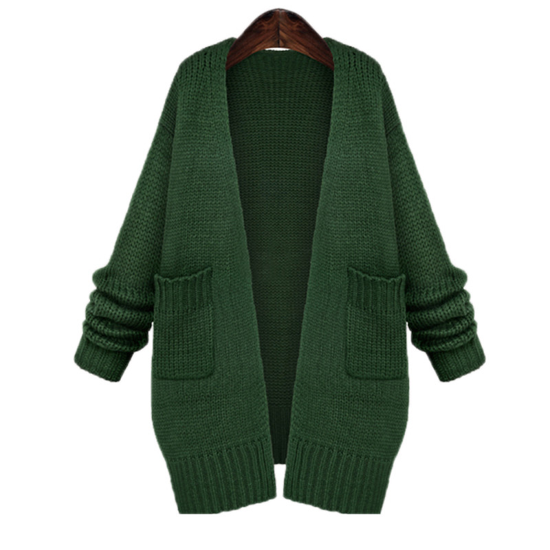 Women Long Sleeve Autumn Black Crochet Cardigan Casual Long Wool ...