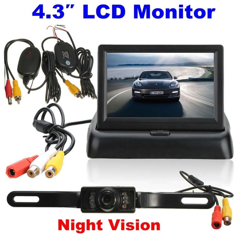 Universal Parking Assist 4 3 Inch Foldable LCD Monitor Wireless IR Backup Reverse Night Vision Rearview