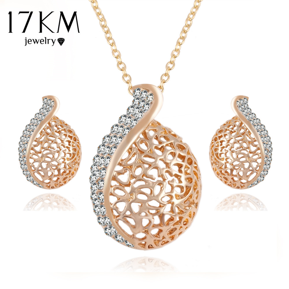 7d4d3d889d 17 KM Elegante pendientes Cristal Austríaco Conjuntos de Jóias Cadeia Cor  do Ouro Colar Pingente Brincos Set Para As Mulheres Do Partido Jóias