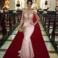 Vestido De Festa Longo 2016 Lace Mermaid Evening Dress Long Pink Satin Prom Dress Sexy Sheer O neck Appliques Party Gown