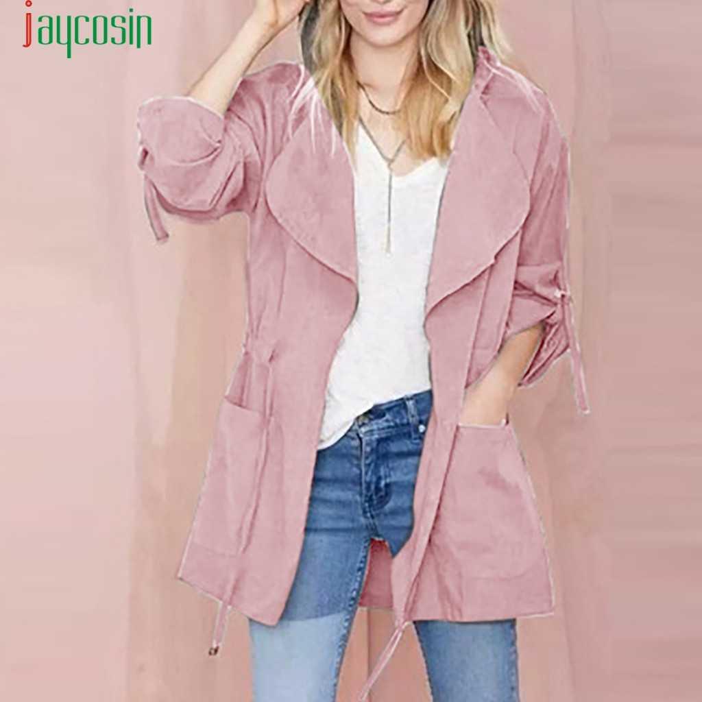 JAYCOSIN Jacke einfarbig Windjacke Mantel Frauen Mode gürtel Strickjacke Parka Mit Kapuze Jacken winter Lange Hülse Outwear 09