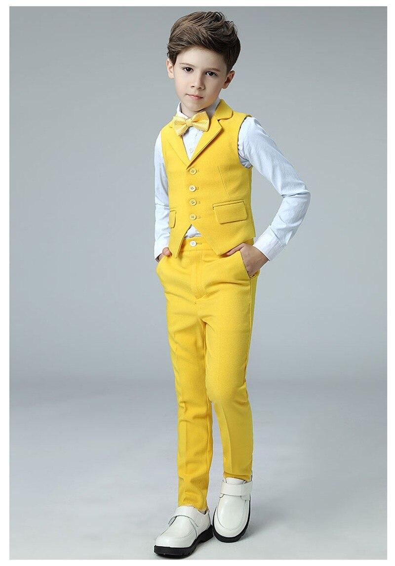 Boys vest suits set vest pant shirt tie kids wedding Party Suits vest costumes little host performance clothing 2019 (4)