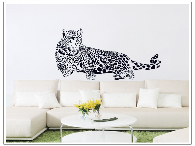 Large 3d leopard wall stickers home decoration wall art for Poster mural zen deco