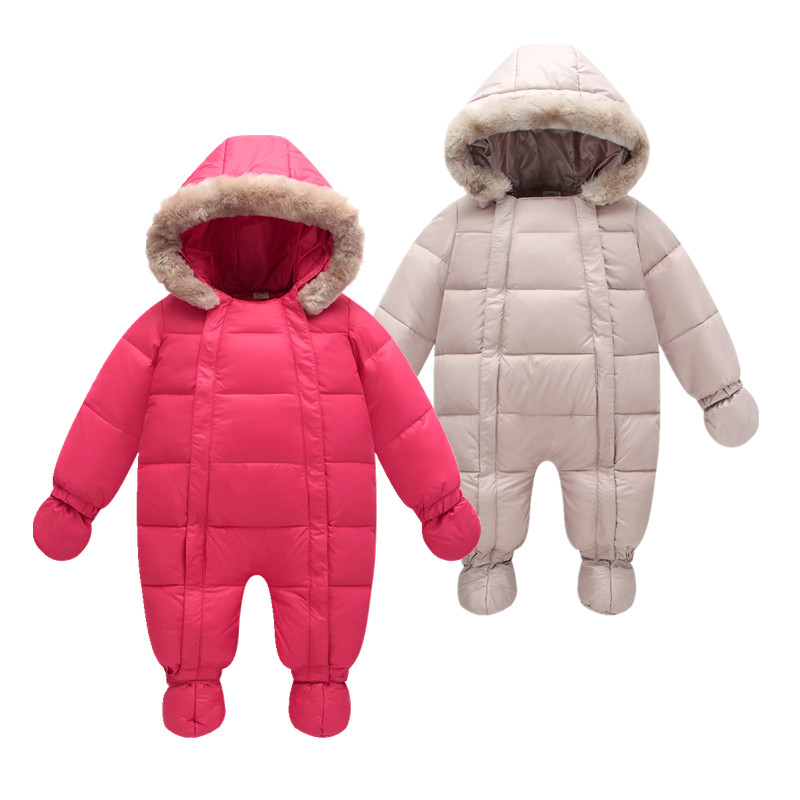 Winter 2018 baby jumpsuits parka 6M-24M jackets coats for baby snow wear , duck down coats & outerwear infant winter snowsuit 2017girl down jackets coats for winter warm baby girl down outerwear