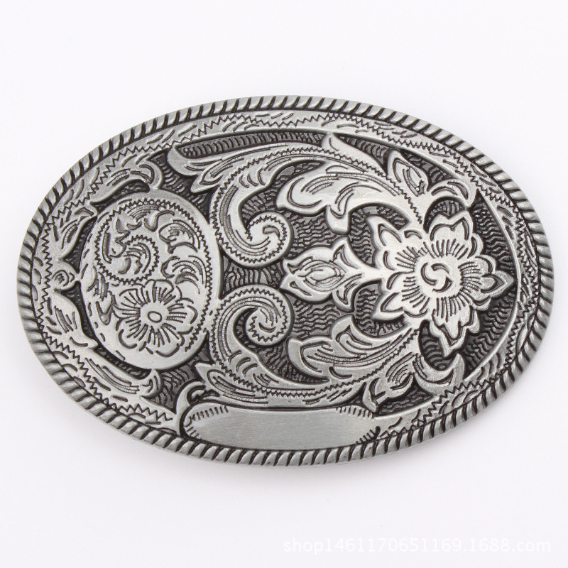 Elliptical Tang Grass Belt Buckle 3.8cm Belt General Smooth Buckle