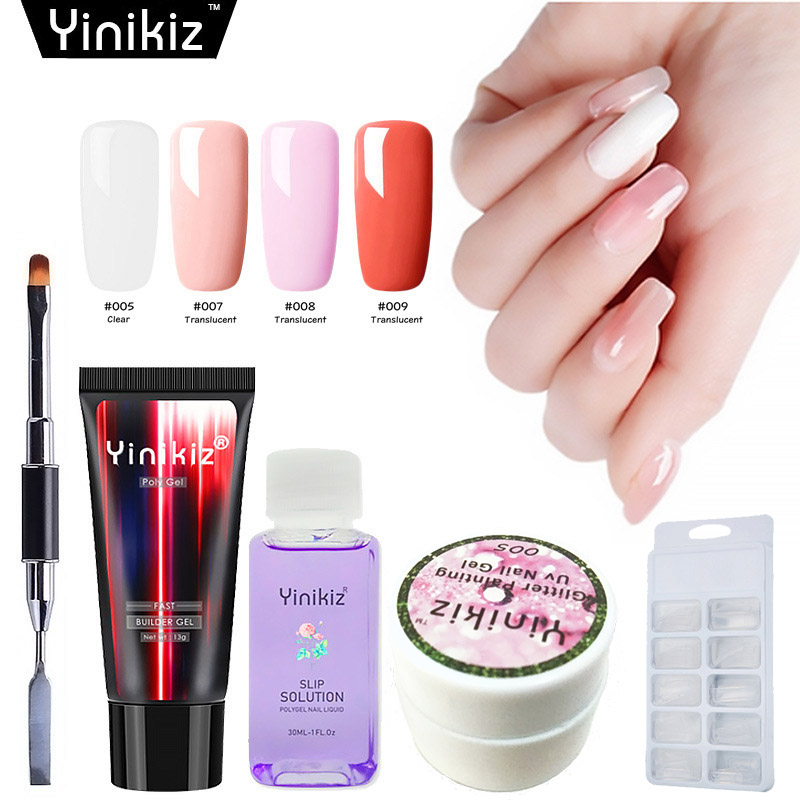 Yinikiz Clear Pink Jelly Acrylic Poly Gel Quick Building Nail Art Tips Extend UV Builder Gel Camouflage Extension Polygel Set