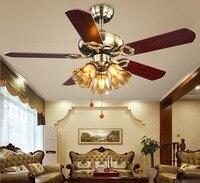 42 дюймов 220 В светодио дный Европейский вентилятор огни Ретро Элегантные Гостиная Ресторан потолочный вентилятор исследование спальня лам