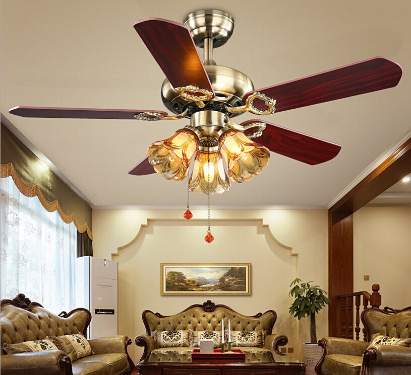 Ceiling Fans With Lights For Living Room: 42inch 220V LED European Fan Lights Retro Elegant Living