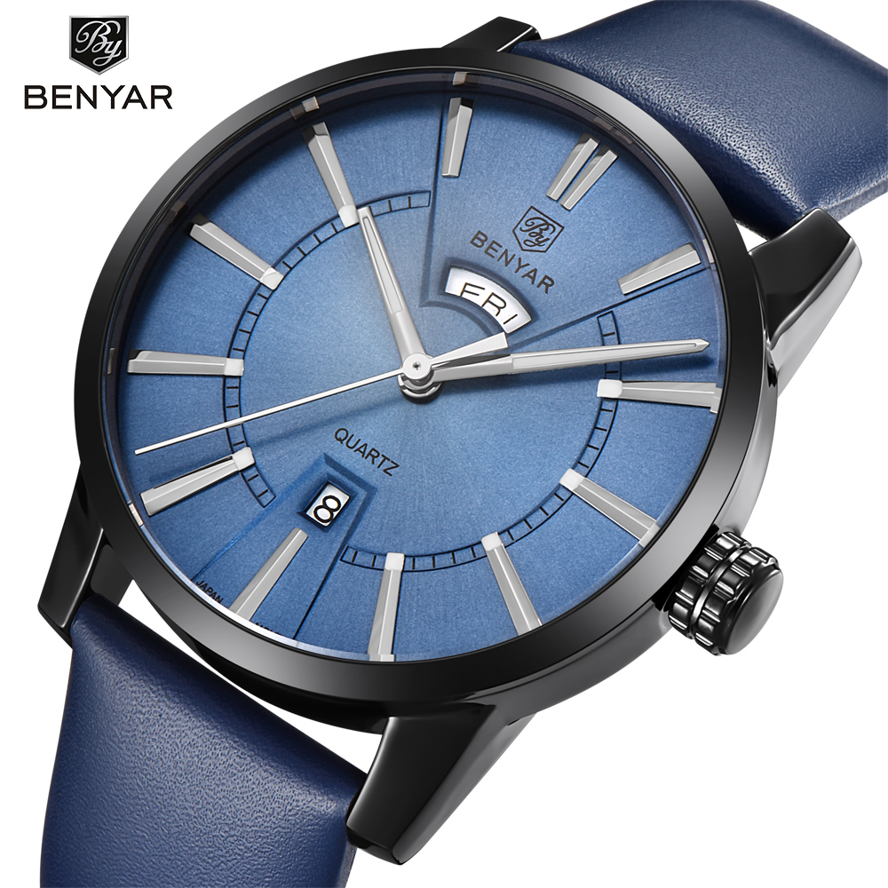 BENYAR Fashion Casual Men Watches Top Brand Luxury Double calendar Quartz Watch Business Male New Clock Support Dropshipping