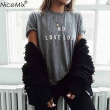 NiceMix Brand New Summer Women T-shirt Printed LOVE Letters Tshirts Fashion O-Neck Short Sleeve Loose Cotton Tee Shirt Femme