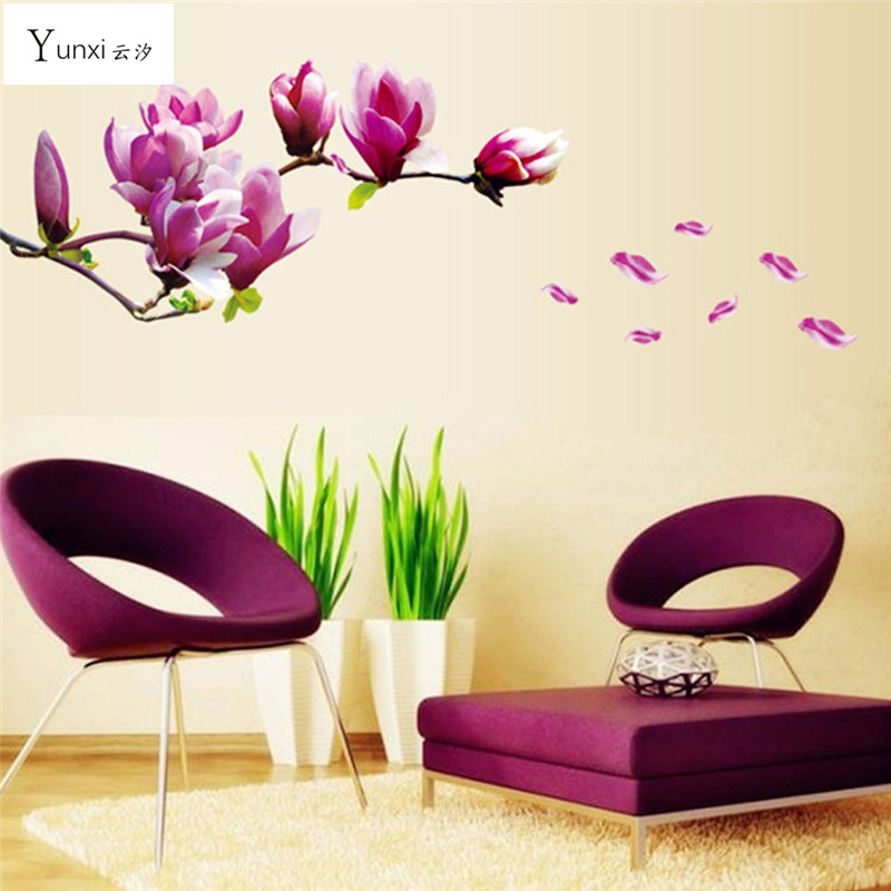 YunXi Beautiful Flowers Purple Jade Orchid Wall Stickers Home Decor For Backdrop Decorative Wall Stickers