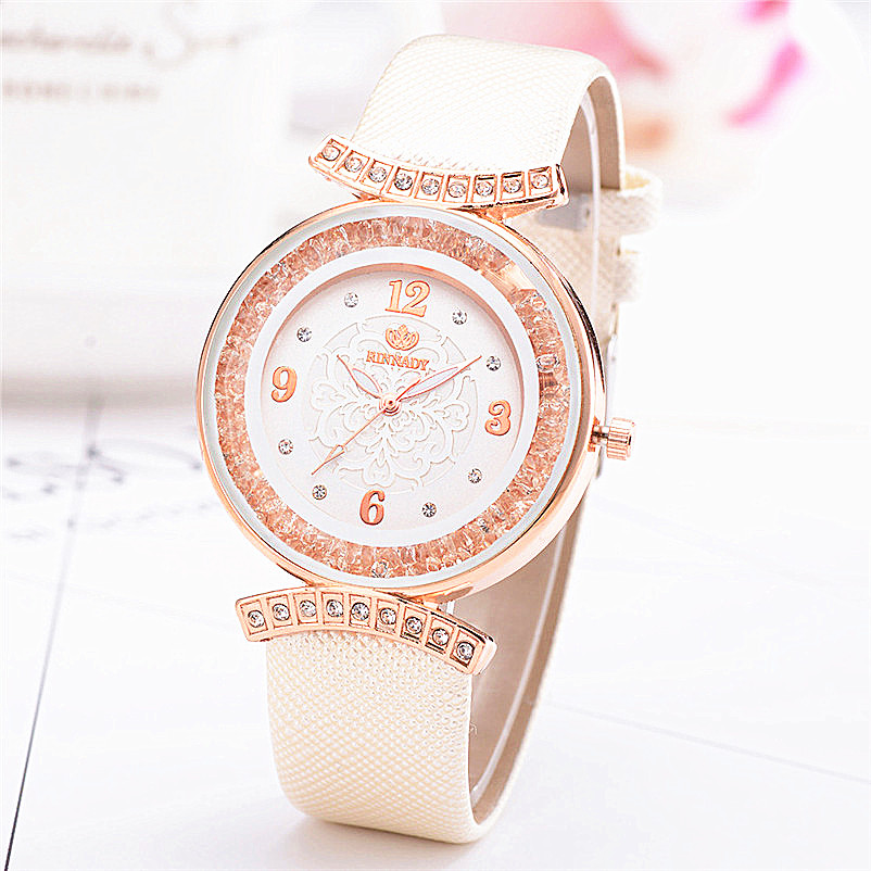 купить New Women 's Fashion Leather Band Analog Quartz Diamond Wrist Watch Watches Bracelet ladies watch drop shipping по цене 122.4 рублей