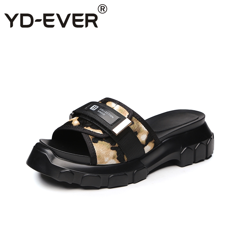 2 Casual Beach Chaussures Cheval ever Cheveux Pantoufles Summer Wedge Femmes Leopard 1 forme Yd Plate 6HPzq7S