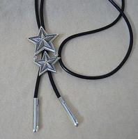 Men Bolo Tie 925 Sterling Silver Double Pentagram Leather Black Rope Necklace Necktie Silver Double Star Set Chain Gravata