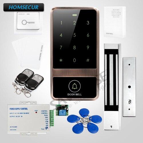 HOMSECUR Waterproof Red Bronze Metal Case Access Control RFID Reader System + Magnetic Lock