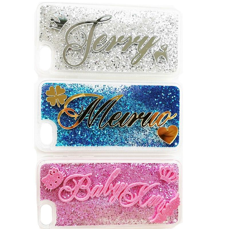 imágenes para Nuevas Mujeres de Lujo Exclusivo Personalizar Nombre Personal 3D Diamond Glitter Quicksand Caso de la Cubierta Para el iphone 6/6 S/7/7 Más Estuche De Regalo