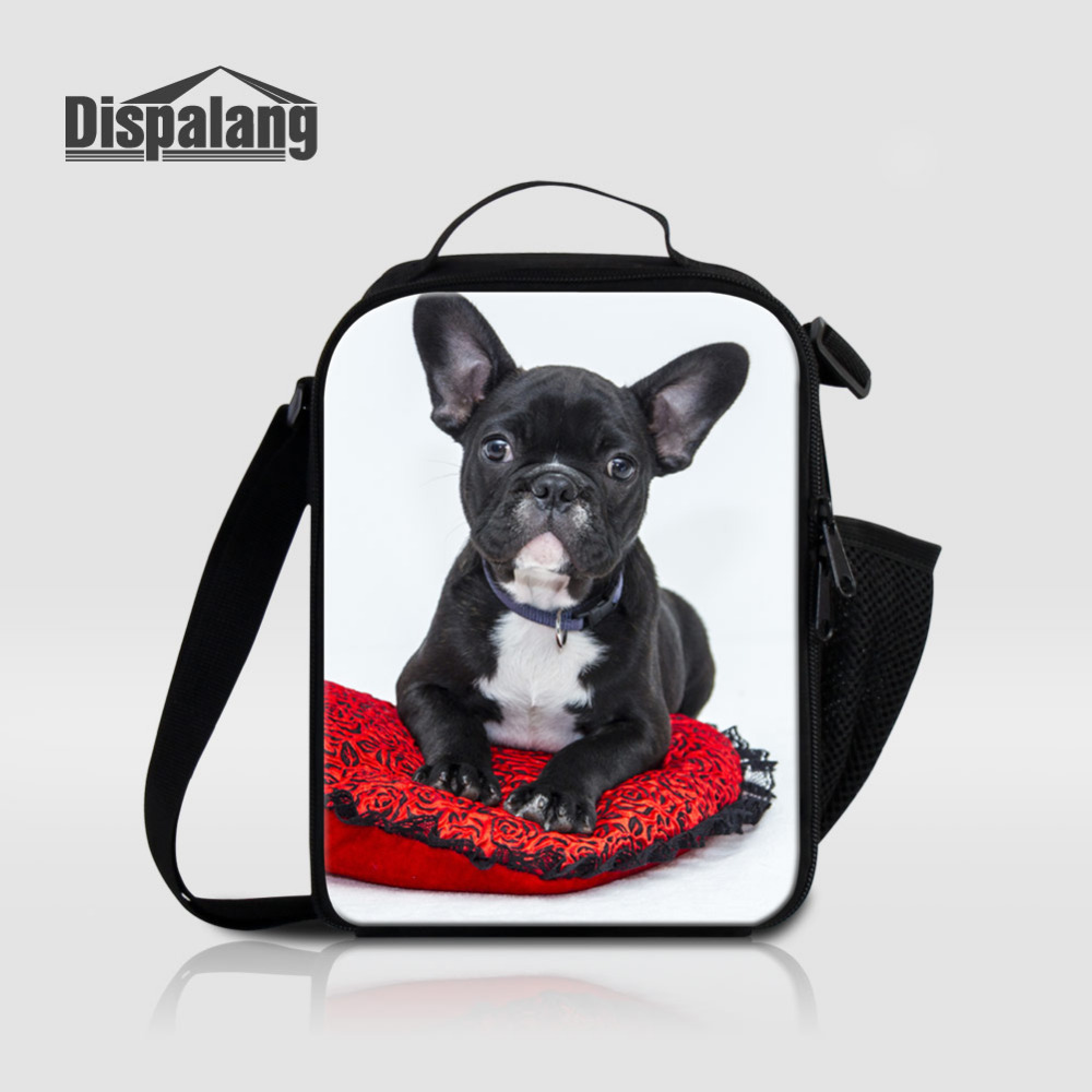 Dispalang Brand Lunch Bag Animal Dog Print Polyester Picnic Travel Storage Insulated Thermal Food Bag Fashion Kids Lunch Bags image