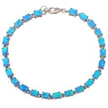 Oficina de estilo Pulseras Al Por Mayor y Al Por Menor ópalo de fuego Azul de plata joyería de moda regalos del partido OB028A