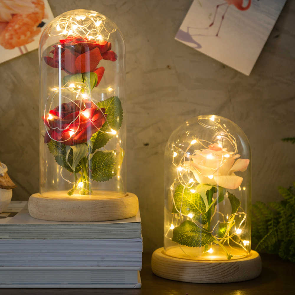 Wedding Rose 20-LED Night Lights Glass Lampshade for Home Decor Valentine's Day Party Mother's Day Gift Home Decor Creative Gift
