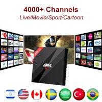 H96 Pro + 3 ГБ/32 ГБ Amlogic S912 Android Smart TV Box + 1 год Израиль Бразилии нам канада Швеция Европейский IPTV server 4000 + каналов