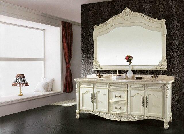 Laatste antieke ontwerp massief hout badkamer wastafelmeubel werd