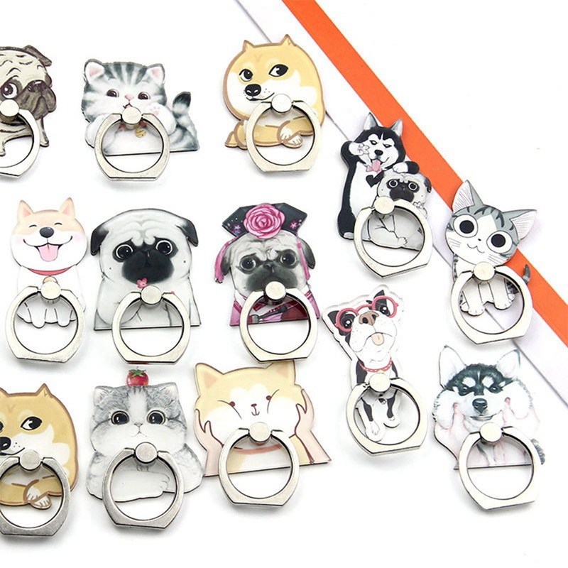 2019 New Cartoon Cute Super Cute Husky Dog Persian Cat Acrylic Mobile Phone Ring Bracket For IPhone6s 7 8p X XR XS Max