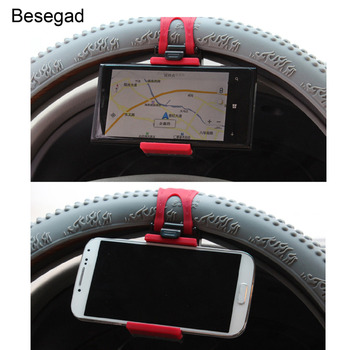 Besegad Car Phone Holder Mounted on Steering Wheel Cradle Smart Mobile Phone Clip Holder Rubber Band For Samsung iPhone Xiaomi steering wheel phone holder