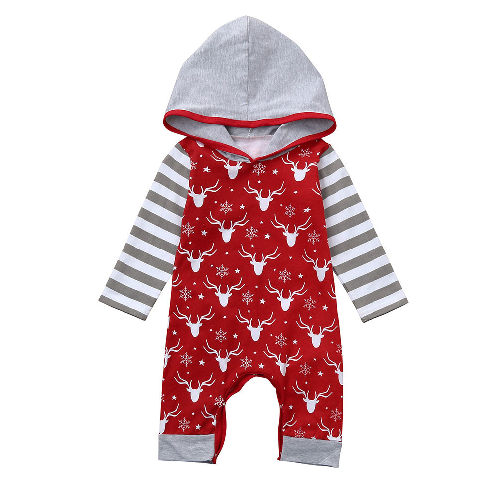 2017 Baby Girl Clothes winter Newborn Baby Girl Boy Cotton Long Sleeve deer Printed Romper Jumpsuit Baby Romper Baby Clothes