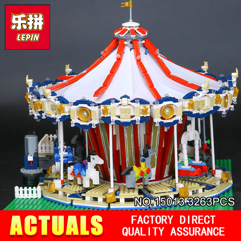 3263PCS Lepin 15013A City Street Ceator Carousel Model Building Kits Blocks Toy amusement park Compatible 10196 Birthday Gifts lepin 15013 city sreet carousel model building kits blocks toy compatible 10196 with funny children educational lovely gift toys