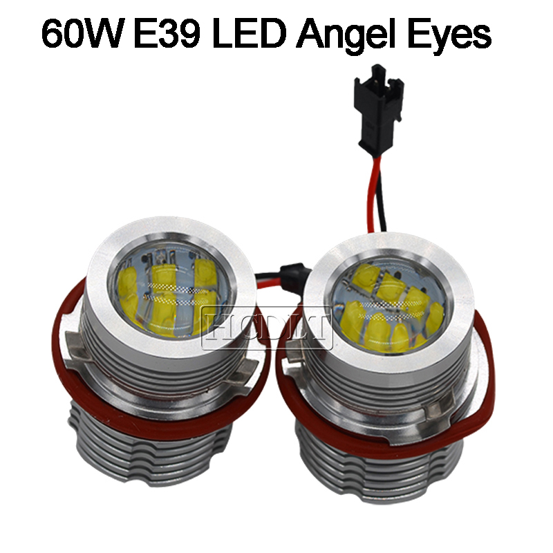 Image 2 - HCDLT Error Free LED Angel Eyes 60W White Yellow Red Blue Car Light For B M W E39 E53 E63 E83 X3 E87 X5 E60 120W LED Marker Kit-in Car Light Accessories from Automobiles & Motorcycles