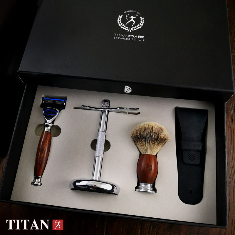 Titan men shaving baber 5 blade razor set in wood handle gift package razor titan razor set with natural green sandal wood safety razor top silver badger hair with gift package
