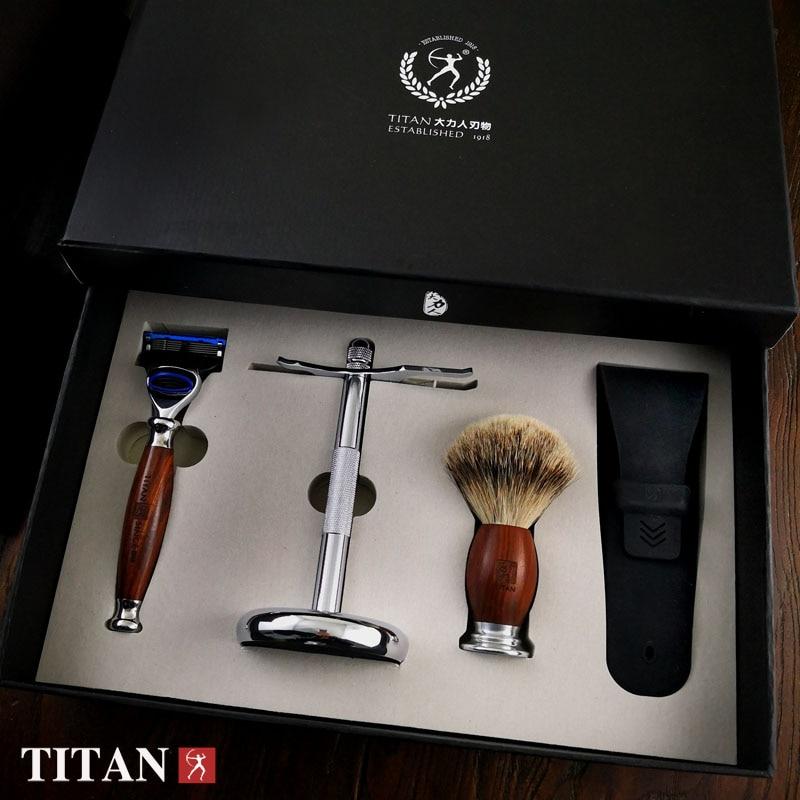 مردان تایتان تراشیدن تیغه های تیغه 5 تیغه ای در تیغ بسته هدیه دسته چوب