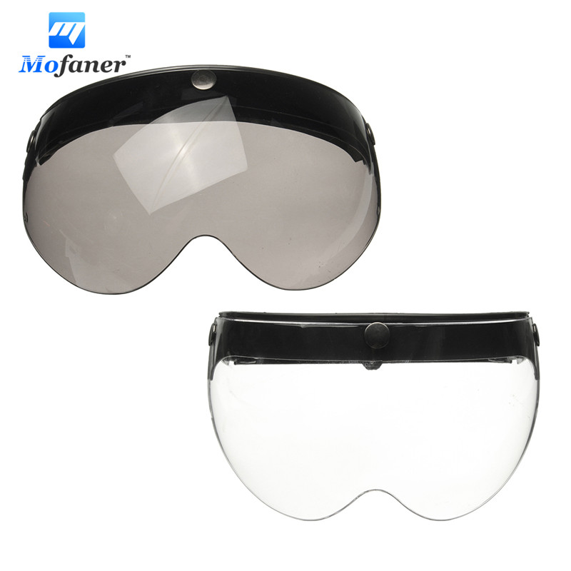 Mofaner Universal Front Flip Up Visor Wind Shield Lens For Open Face Motorcycle Helmets