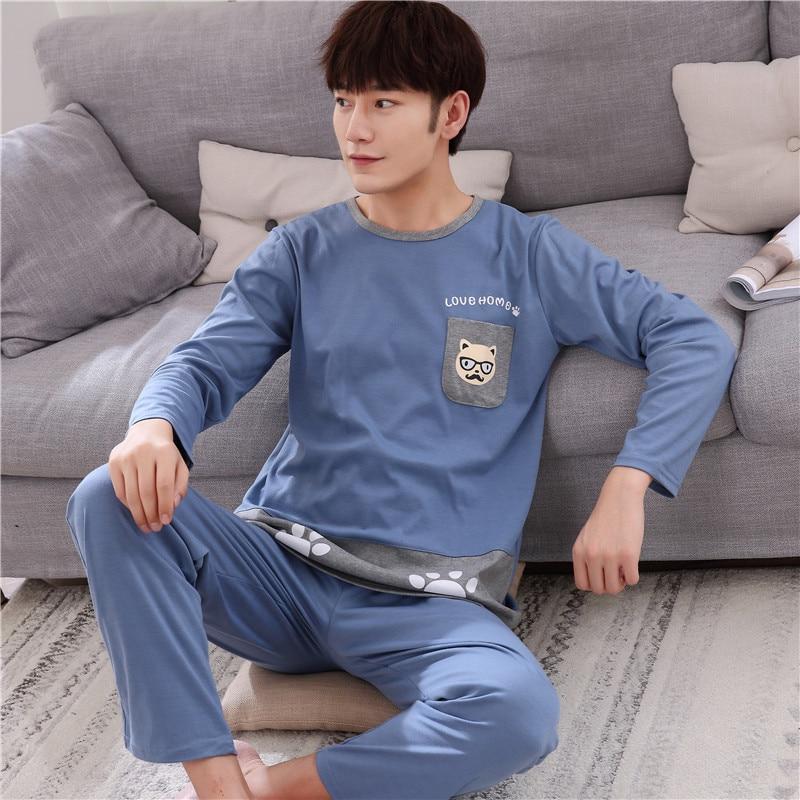 XXXL 4XL New mens pajamas cotton long sleeve suit casual mens home service pajamas