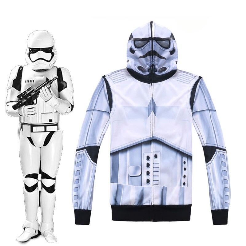 New Star Wars: The Force Awakens Cosplay Stormtrooper Coat Men/Women Causal Cool Zipper Jackets Monsters Hoodies USA SIZE White