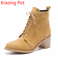2018 Hot Sale Cow Suede Lace Up Round Toe High Heels Fashion Office Lady Bowtie Winter
