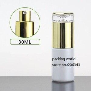 Image 5 - 30 ml matt/grün/blau/weiß glas flasche gold pumpe deckel für serum/lotion/emulsion /foundation/anti uv/essenz/hautpflege