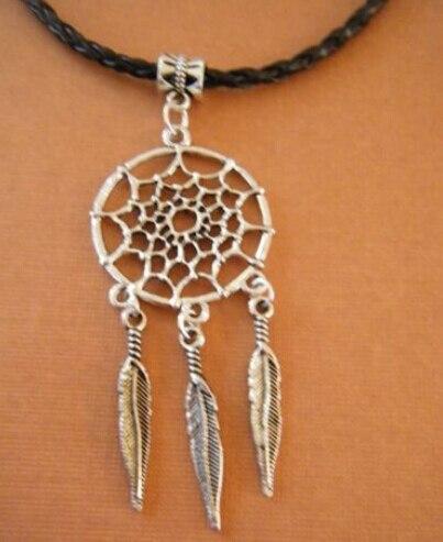Vintage prata antiga Dreamcatcher encantos cordões de couro preto PU colar  e pingentes gargantilha 39af12cc0e