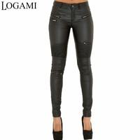 LOGAMI Faux Leather Pants Women Elastic Zipper Leather Pants Trousers 2018 Leren Broeken