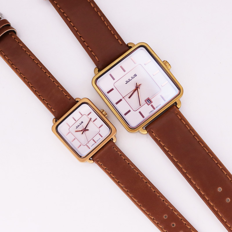 Julius Men's Watch Women's Watch Auto Date Couple Fashion Hours Square Retro Real Leather Classic Birthday Lovers Gift Box 558
